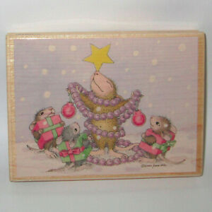 Stampabilities House Mouse Rubber Stamp TIS THE SEASON Color Wood Mounted Mice