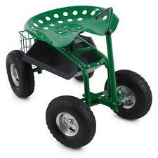 Siège sur roulettes chaise roulante travaux jardin jardinage compartiments verte