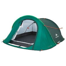 Quechua 3 Man Pop Up Camping Tent 2 Seconds Hiking Festival Waterproof Green