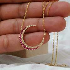 1Ct Round Red Ruby Crescent Moon Pendant Necklace 14K Rose Gold Over Free Chain