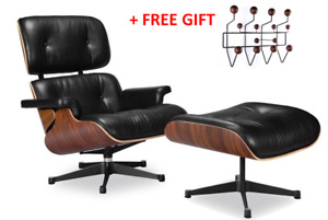 HIGH-END Eames Lounge Chair and Ottoman Replica, Premium Real Leather, Rosewood