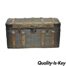 Antique 14x26 Victorian Dome Top Wood Metal Steamer Trunk Treasure Chest w Tray