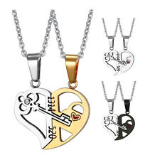 2Pcs Stainless Steel Couple Necklace Heart Pendant Matching Valentine's Day