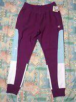Champion LIFE Men's Joggers Sweats Reverse Weave Colorblock Purple Blue Size L