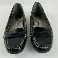 SPERRY Size 8 Penny Loafer Womens Shiny Black Leather Slip On Flats EUC