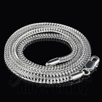 3mm 14k White Gold Finish Silver FRANCO CHAIN Box Link Necklace - 24 30 36 Inch