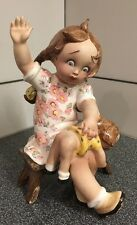 Vintage by Tiziano Galli Porcelain Figurine A Girl Spanking Doll . Rare Italy