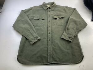 LL Bean Chamois Cloth Flannel Solid Green Button Work Shirt Mens Size Large