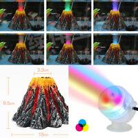 UK Underwater LED Lighting Bubble Volcano Aquarium Ornament Fish Tank Decor Rock