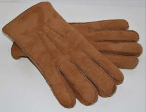 Merolo Men's Gloves Shearling Chestnut Wool Lined Sz 8 Made In Italy FREE SHIP!