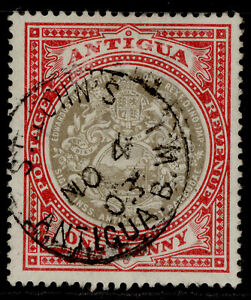 ANTIGUA EDVII SG32, 1d grey-black & rose-red, VERY FINE USED. CDS