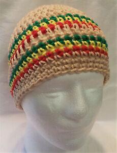 Rasta style Handmade NEW Crocheted Tan Beanie Skull Hat fits adults & teens
