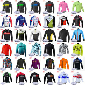 Mens Cycling Jersey Winter Thermal Fleece Long Sleeve Shirts Bicycle Uniform