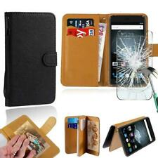 Leather Stand Wallet Case +Tempered Glass Screen Protector For Cubot SmartPhones
