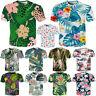 Women Men Casual Tee Short Sleeve Tops 3D T-Shirts Print Green Leaf Summer Shirt