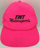 Vtg TNT Motorsports Hat Racing Logo Nylon Snapback Trucker Hot Pink Baseball Cap