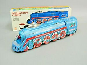 Vintage Tin Metal TOY International Express TRAIN Locomotive Friction Toy