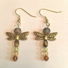 "WHIMSICAL 2"" DRAGON FLY GOLD TONE & BROWN CRYSTALS W/SURGICAL STEEL EAR WIRE"