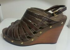 GEOX Women's Sandals Size 37 4 Brown Slingback Gladiator Wedge Wood Studs Shoes