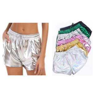 Women's Shiny Patent Leather Sexy Lace-up Shorts Fashion Party Club Short Pants