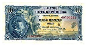 Colombia ... P-400c ... 10 Pesos ... 1961 ... Ch *XF-AU*.