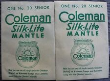 2 New Old Stock Vintage Coleman Silk-Lite No. 20 Senior Mantles Made in Usa