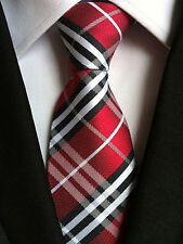 (NT045) Red Tartan 8cm Wide Necktie Wedding Office Party Formal Silk Tie For Men