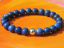 Mens / Ladies 8mm Handmade Gemstone & Silver Beaded Bracelet - Lapis Lazuli.