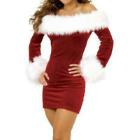 Santa Claus Dress Women Sexy Red Christmas Adult Costume Girl Xmas Party Outfit