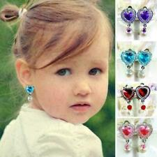 Children Girls Clip on Earring No Piercing Crystal Costum Drop Dangle Jewelry