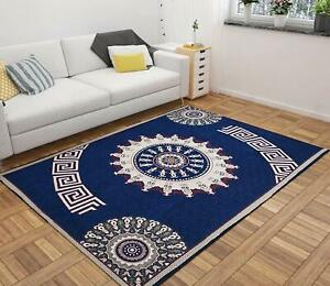 Blue Printed Traditional Carpet Of Chenille - 5 ft x 7 ft For Home Decor - 1 Pc