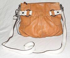 Tignanello Caramel & White Butter Leather Multi Pocket 4 Sectional Crossbody Bag