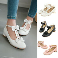 Women Ankle T Strap Chunky Low Heel Pumps Bow Round Toe Lolita Shoes Plus Size