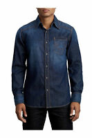 True Religion Men's Midnight Denim Western Button Front Shirt in Body Rinse