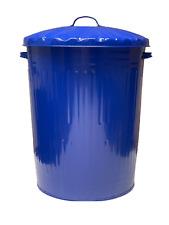 BLUE LARGE 90L METAL DUSTBIN TRASH RUBBISH RECYCLE WASTE BIN PARASENE UK MADE