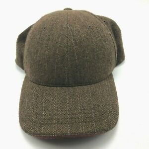 Old Navy Wool Blend Casual Hat Cap Strapback Brown Pin Stripes