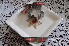 "NEW HALLMARK SNOWFLAKE SUGAR COOKIE RECIPE 7"" PLATE & METAL COOKIE CUTTER"