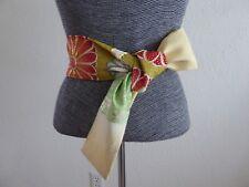 "Japanese Vintage Silk Kimono Obi Belt Chrysanthemum Embroidery/ 56""L x 3""W"