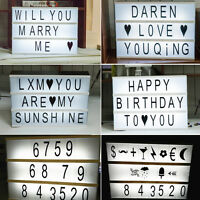 DIY A4 Cinematic Light Up Sign Box Cinema LED Letter Lamp Home Decor Party