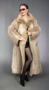 4406 GLAMOROUS REAL CANADIAN COYOTE COAT LUXURY FUR VERY LONG BEAUTIFUL SIZE M