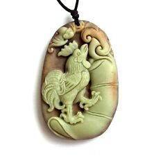 One Bead-Two Layer Natural Stone Lucky Chinese Zodiac Rooster Bat Amulet Pendant