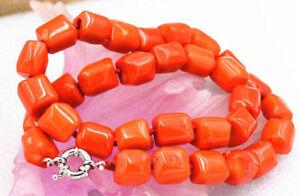 Huge 12-15mm Amazing orange Cylinder Coral Gemstone Beads Necklace 18inches