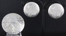 STERLING ETCHED DESIGN SCREWBACK BROOCH & EARRINGS JEWELRY SET 925 FINE 1387B