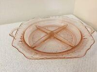 Mayfair Open Rose Pink Depression Glass Relish Dish VGUC