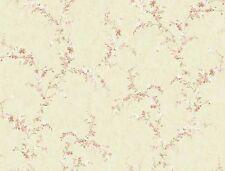 Wallpaper Flower Floral Vine Trail Pink Peach Green on Light Beige Background