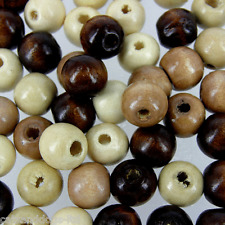 500 x NATURAL BROWNS Mixed 12mm  Wood Craft Wooden Round beads W230