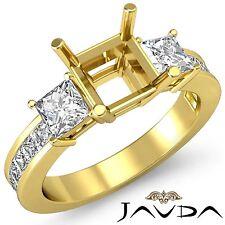 3 Stone Diamond Wedding Ring 18k Yellow Gold Princess Asscher Semi Mount 1.1Ct