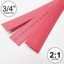 """3/4"""" ID Red Heat Shrink Tube 2:1 ratio 0.75"""" (3x8"""" = 2 ft) inch/feet/to 20mm"""