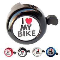 """Bicycle Bell Heart Alarm Bike Metal Handlebar Horn """"I Love My Bike"""" Mini Bell"""