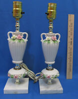Vintage Pair Table Lamp Porcelain FLowers Gold Trim Marble Base Lot of 2 Working